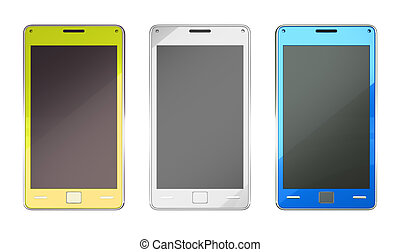 Smart phones in yellow blue and white colours