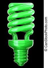 efficiency and eco friendly technology: green light bulb on...