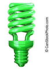 green light bulb: efficiency and eco friendly technology on...