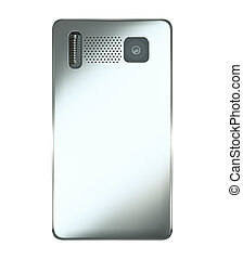 Rear view of smart phone isolated