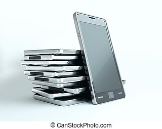 Gadgets: cellphones with touch screens over white