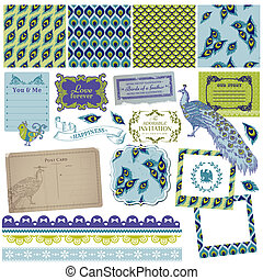 Scrapbook Design Elements - Vintage Peacock Feathers - in...