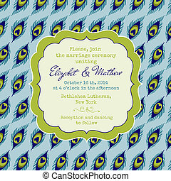 Wedding Vintage Invitation Card - Peacock Theme - in vector