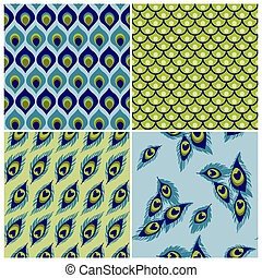 Set of Seamless Backgrounds - Peacock Collection - for wedding, scrapbook - in vector