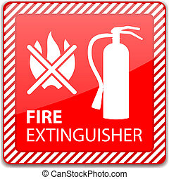 Fire Extinguisher Sign - Red Fire Extinguisher Sign isolated...
