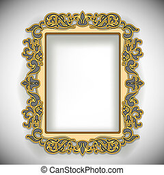 Carved Wooden Frame isolated on white. Vector Illustration....