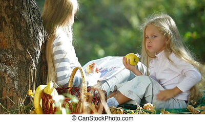 Two Blonde Little Girls Resting - Two blond little girls...