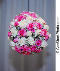 Ball from white and pink rose