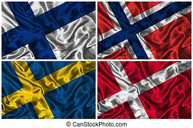 Silk Flags of Scandinavia - Waving colourful flags of...