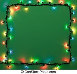 Christmas lights frame with copy space. Decorative garland