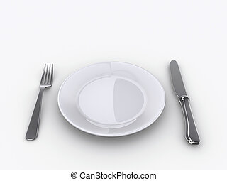 Plate 1 - A Dinner plate, knife and fork - rendered in 3d