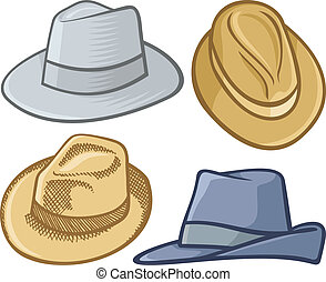 Fedora hats - Four fedora hat illustrations isolated on...