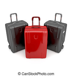 Difference concept - One red and two black travel bags -...