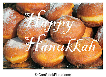 Happy Hanukkah greetings card with traditional fried...