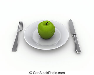 Plate diet - Diet concept - a plate with an apple, knife and...