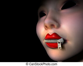 Mouth with zipper 2 - Conceptual women lips closed with...