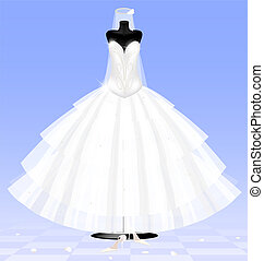 bride dress - in abstract blue room are a big black dummy in...