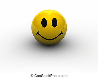 Face smile - A conceptual smiling yellow face - rendered in...
