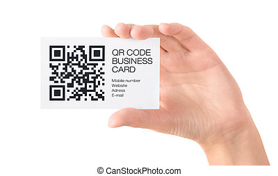 QR code business card in hand isolated - Hand showing...
