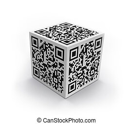 3D cube with QR code isolated - 3D cube with QR code concept...