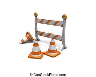 construction cones and a barrier - cones and a construction...