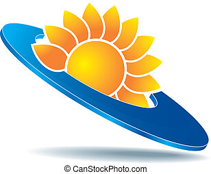 sun icon - icon as sun or abstract yellow flower on blue...