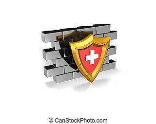 red security shield on a wall - a red shield with a white...