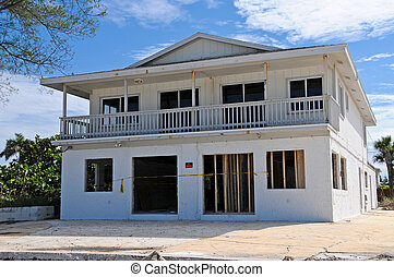 Hurricane Damaged Beach House - Beach House Being Repaired...