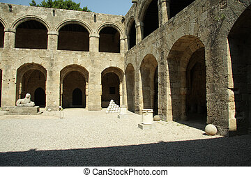 Rhodes Hospital Yard - Ancient Rhodes Hospital yard with...