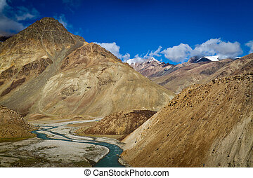 Himalayas - Himalaya high mountain landscape with river...