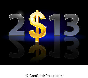 Twenty Thirteen Year Dollar sign Illustration on black...