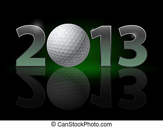 Twenty Thirteen Year Golf Ball Illustration on black...