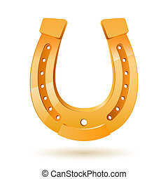 Horseshoe - Golden horseshoe Illustration on white...
