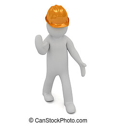 3D man in an orange helmet stops traffic