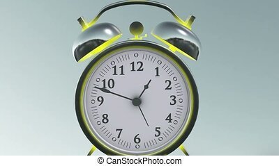 Alarm clock isolated on the black background