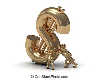 gold people lifts drop a big gold dollar - 3D small gold...