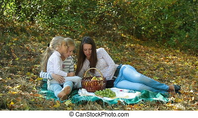 Family At The Picnic - Young mother and two daughters having...