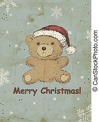 Christmas background - Hand drawn Teddy bear with Christmas...