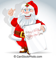 Cute Santa Claus holds banner
