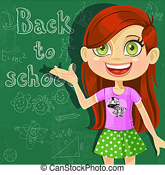 Banner - Back to school - cute little girl at the board...