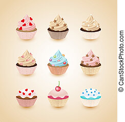 Cupcakes - Set of delicious cupcakes with different toppings