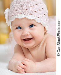 Portrait of a baby - Portrait of beautiful blue-eyed girl