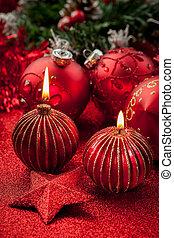 蝋燭, ボール, クリスマス, 赤