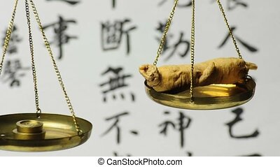ginseng root on a balance
