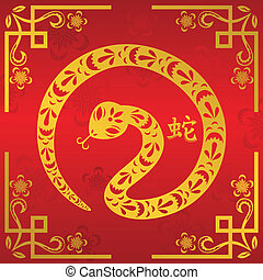 Chinese New Year of Snake - A vector illustration of Year of...