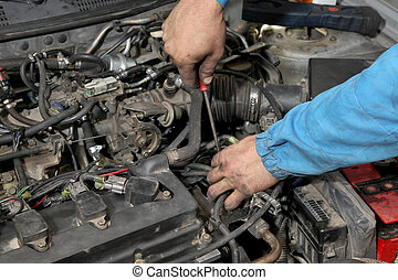 Car servicing - Servicing of modern car gasoline engine,...