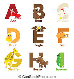 Alphabet animals - A vector illustration of alphabet animals...