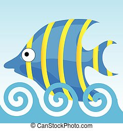 sweet and funny fish vector illustrtion
