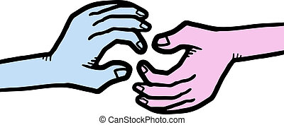 Blue and pink hands - Creative design of blue and pink hands