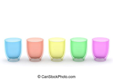 Five glasses of different color